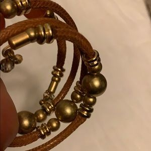 Spiral bracelet, Brown with gold